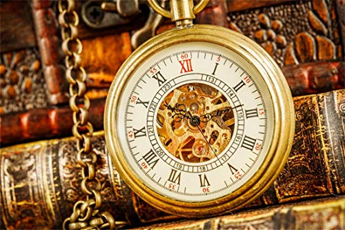Yeele 10x8ft Retro Book Photography Background Vintage Pocket Watch Pointer Read Book Jewellery Clock Antique Elegant Happy New Year Celebrate Photo Backdrops Pictures Photoshoot