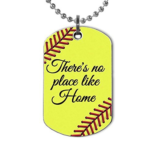 Softball There is No Place Like Home Pendant Dog Tag Necklace Handmade