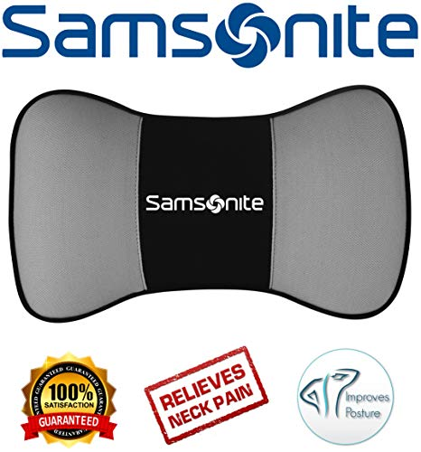 Samsonite SA5249 \ Travel Pillow for Car, SUV \ Helps Relieve Neck Pain & Improve Circulation \100% Pure Memory Foam \ Fits Most Vehicles ()