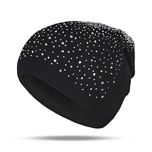 (Gold Happy Winter Hat Women Skullies Knitted Girls Warm Caps Thick Female Cap Solid Women Unisex Rhinestones Hats)
