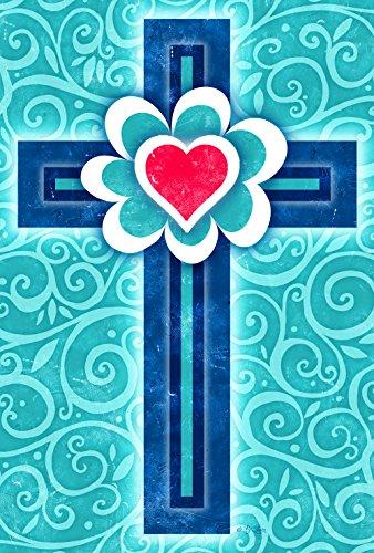 Toland Home Garden 1110770 Heart Cross Religious/Inspirational Garden Flag, 12.5