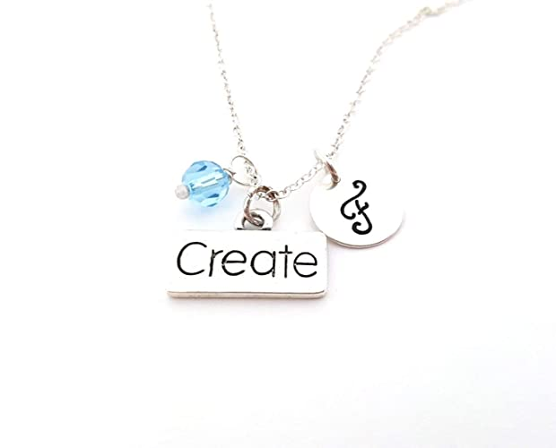 aff5acf99 Amazon.com: Create Necklace - Artist Charm - Personalized Sterling Silver  Necklace - Custom Jewelry - Gift for Her: Handmade