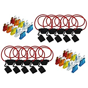 Davitu 10pcs Inline 16 AWG Blade ATM Medium In-Line Fuse Holder for Car Boat Truck with line insurance seat 30cm Wire and 20PCS fuses