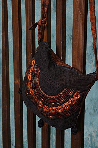 Guatemalan Shoulder Bag - Brown Guatemalan Embroidered Shoulder Bag