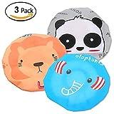 Fast and Good Cute Cartoon Waterproof Elastic Shower Cap Bath Cap for Women and Girls and Kids,Pack of 3 (Panda+Elephant+Lion)