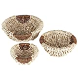 Household Essentials Round Wicker Decorative Bowls, 3 Piece Set, Light Brown