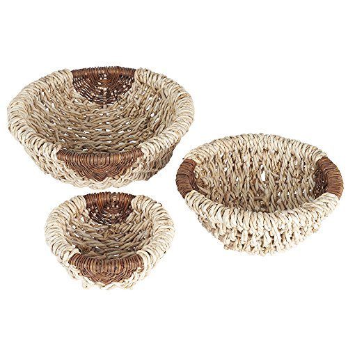 (Household Essentials Round Wicker Decorative Bowls, 3 Piece Set, Light)