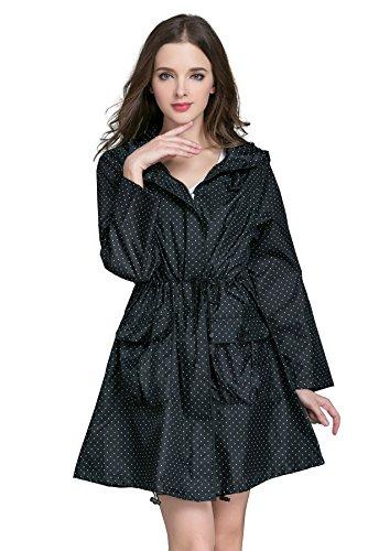 (Aeman Women's Raincoat Waterproof Portable Outdoor Dot Rain Jacket Poncho with Hood and Zip Black)