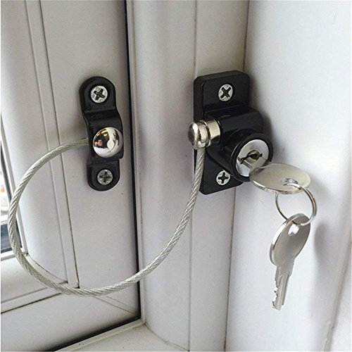 Tuscom Child Baby White Window Door Restrictor| Adjustable Strap ecurity Wire Cable for Wood Aluminum & Metal Doors (Black)