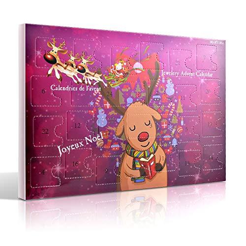 MJartoria Advent Calendar Christmas Tree Earrings Pink Charms Bracelet Couple Necklace Ring Set for Girls Women (Style 1)