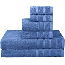 PROMIC 100% Quality Cotton Bath Towel Set, 6 Piece Includes 2 Bath Towels, 2 Hand Towels, and 2 Washcloths – 500GSM, Highly Absorbent and Softness, Fade-Resistant, Blue