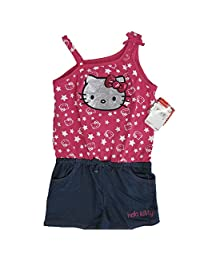 Hello Kitty Little Girls Fuchsia Blue Star Glittery Applique Romper 5
