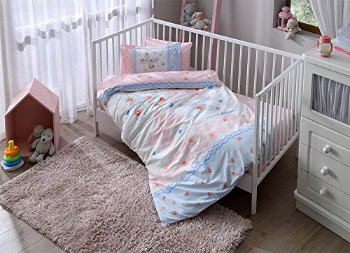 Baby Butterfly Pink Blue Nursery Duvet Cover Set - 100% Cotton - 4 pieces Baby Butterfly Pink Blue Boy's Themed Made in Turkey by cityof20