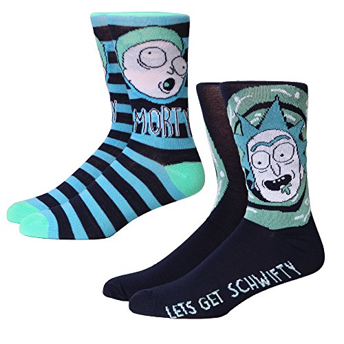 Rick and Morty Stripes/Swirls Adult 2-pack Crew Socks, Multi, Shoe: 6-12 from RICK AND MORTY