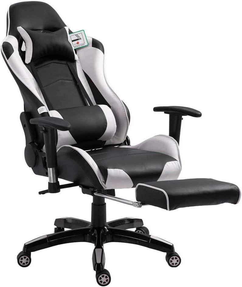 respaldo alto giratorio de piel sint/ética Silla de escritorio ajustable para ordenador con almohada lumbar y cabeza asiento c/ómodo de carga 150 kg blanco MathRose Gaming Racing Sport Elite