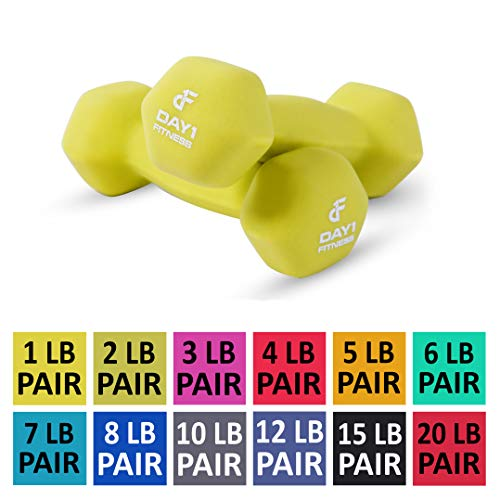 Day 1 Fitness Neoprene Dumbbell Pairs 1 Pound - Non-Slip, Hexagon Shape, Color Coded, Easy to Read Hand Weights for Muscle Toning, Strength Building, Weight Loss