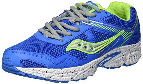 Saucony Boys' Cohesion 10 LTT Sneaker, Grey/Blue/Green, 4.5 Wide US Big Kid