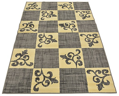Normian Collection Checkered Floral Abstract Squares Geometric Design Area Rug Rugs Modern Contemporary Area Rug 3 Color Options (Grey, 4'9