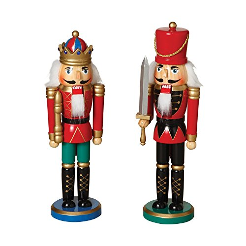 12'' Tall Traditional Wooden Nutcrackers With Sword (Set of 2 Assorted) by Sterling