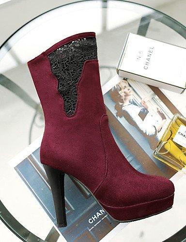 Xzz us5 Tacón Moda Casual Rojo La Mujer Vestido Cn35 Stiletto Eu36 Encaje 5 us8 Vellón Punta A Negro Eu39 Botas Cn40 Redonda Uk6 Uk3 Red 5 5 De 5 Zapatos Black rqtc7a4r