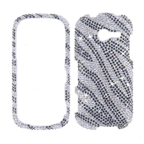 FULL DIAMOND CRYSTAL STONES COVER CASE FOR SAMSUNG ARRAY / MONTAGE M390 SILVER WAVES