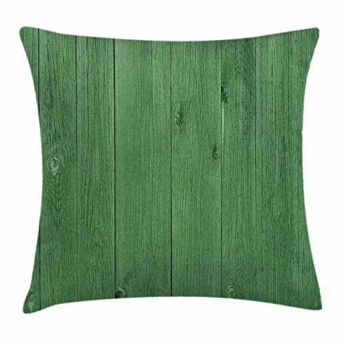 (Lunarable Hunter Green Throw Pillow Cushion Cover, Wooden Planks in Green Color Rustic Barn Farmland Village Life Rural Picture, Decorative Square Accent Pillow Case, 18 X 18 inches, Hunter Green)