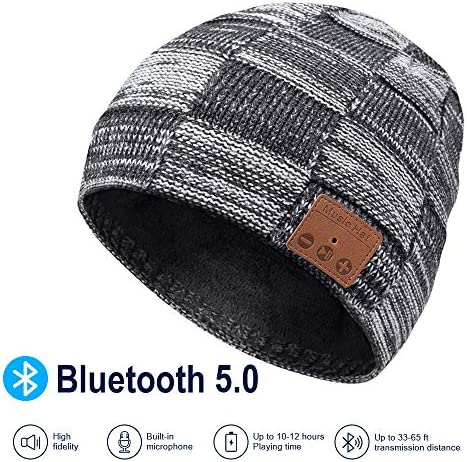 Bluetooth Beanie, V5.0 Bluetooth Hat, Wireless Earphone Beanie Headphones, with HD Stereo Speakers Built-in Microphone, Mens Gifts, Christmas Electronic Gifts for Men Women