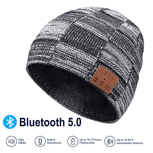 Bluetooth Beanie, V5.0 Bluetooth Hat, Winter Music Hat, Wireless Earphone Beanie Headphones, with HD Stereo Speakers Built-in Microphone, Christmas Electronic Gifts for Men Women