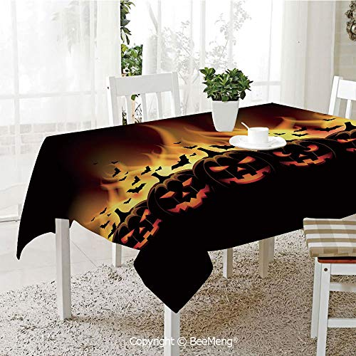 BeeMeng Large dustproof Waterproof Tablecloth,Family Table Decoration,Vintage Halloween,Happy Halloween Image with Jack o Lanterns on Fire with Bats Holiday Decorative,Black Scarlet,70 x 104 inches -