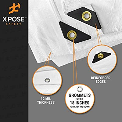 Heavy Duty White Poly Tarp 10' x 30' Multipurpose Protective Cover - Durable, Waterproof, Weather Proof, Rip and Tear Resistant - Extra Thick 12 Mil Polyethylene - by Xpose Safety