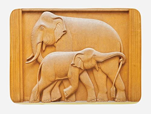 Plush Bathroom Decor Mat with Non Slip Backing 29.5 W X 17.5 W Inches Carved Wooden Mother Child Baby Elephants African Animals Artistic Design Apricot Mustard Lunarable Sculptures Bath Mat