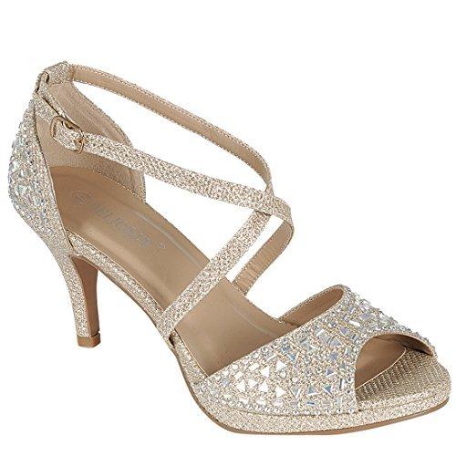 Forever IG09 Women's Rhinestone Ankle Criss Cross Strap Stiletto Heel Sandals, Color:Champagne, Size:7.5 (Criss Cross Rhinestone)