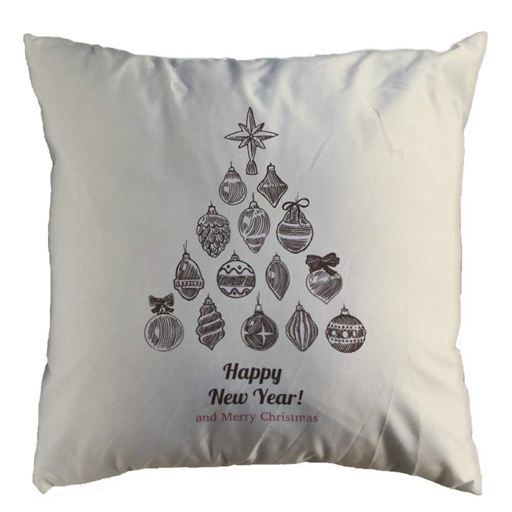 "Chenway 18 ""×18"" Glitter Cotton Soft Sofa Throw Cushion Cover JoyousMerry Christmas Super PillowcaseNew Xmas Hidden Zipper Closure Pillow Case | for Home Decoration Office Sofa Car Bedroom (A)"