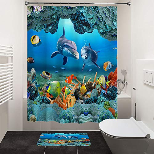 "HIYOO Bathroom Decorative Polyester Fabric Waterproof Shower Curtain, Ocean Underwater Seabed Coral Happy Dolphins Fish Theme Design, High-Definition Image,with Hooks 72"" W x 72"" H"