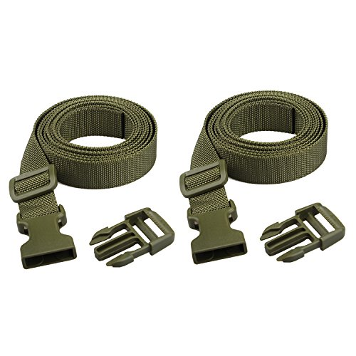 - XTACER (Set of 2) Backpack Accessory Strap Luggage Straps Cover Strap Sleeping Bag Strap with Buckle (Green - Release Buckle Straps)