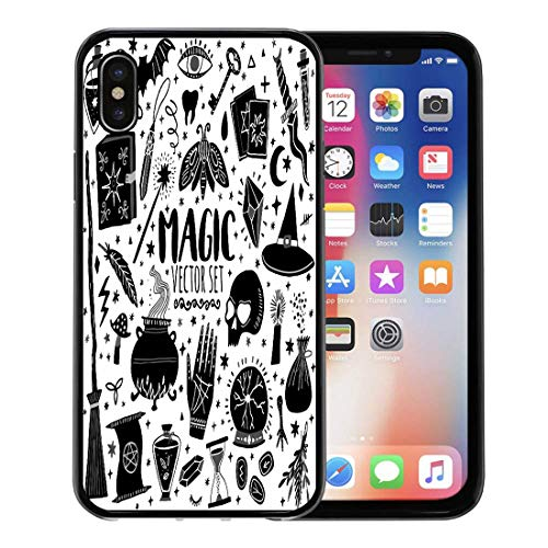 (Semtomn Phone Case for Apple iPhone Xs case,Witch Magic Doodle Sketch Magician Witchcraft Symbols Wizard Potion Black for iPhone X Case,Rubber Border Protective Case,Black)