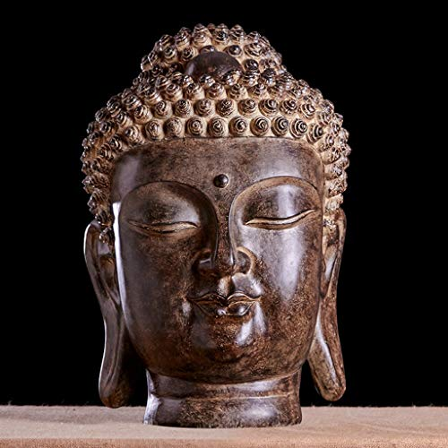 DJ&YH Buddha Statue Thai Buddha Head Ornament Zen Buddha Statue, Living Room Porch Wine Cabinet Crafts (Color : B)