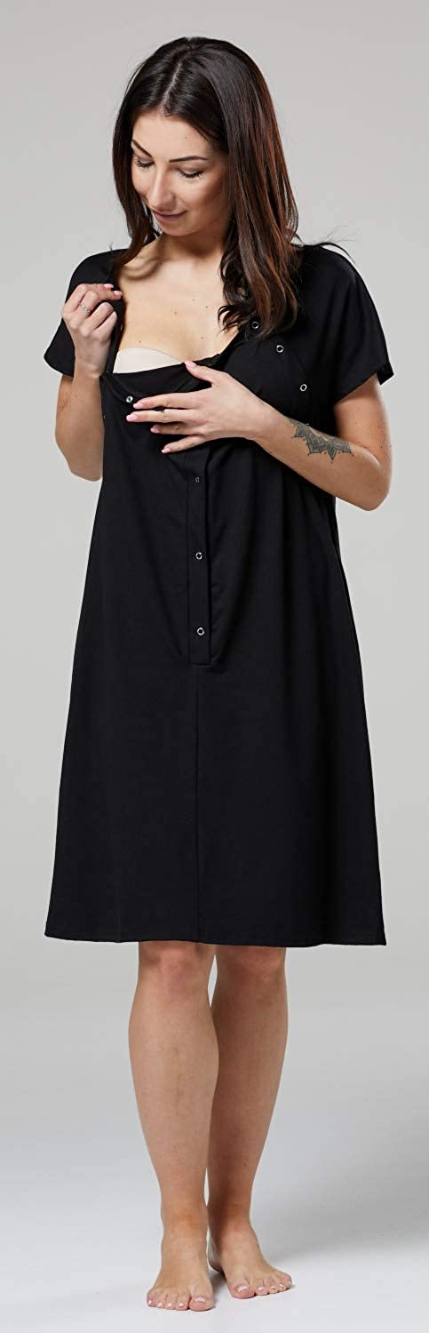 HAPPY MAMA Womens Maternity Nursing Delivery Hospital Gown Nightshirt 538p