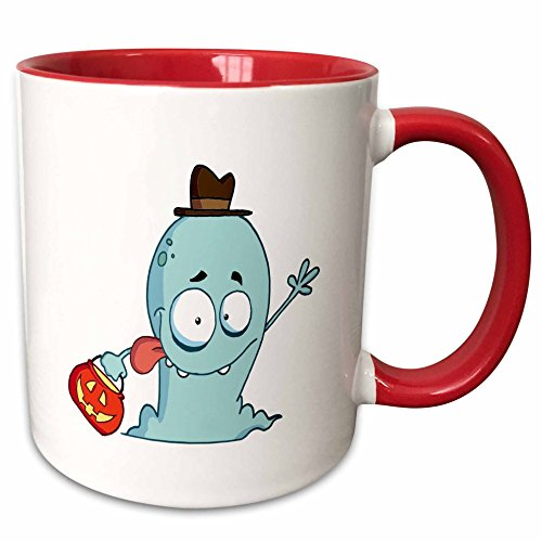 (3dRose Dooni Designs More Random Cartoon Designs - Cute Halloween Ghost Trick Or Treating - 15oz Two-Tone Red Mug)