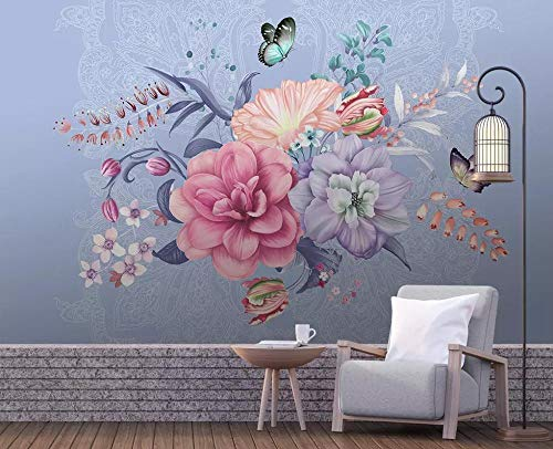 Wallpaper 3D Nordic Simple Hand-Painted Floral Butterfly Modern Living Room Bedroom Large Mural Wall ()