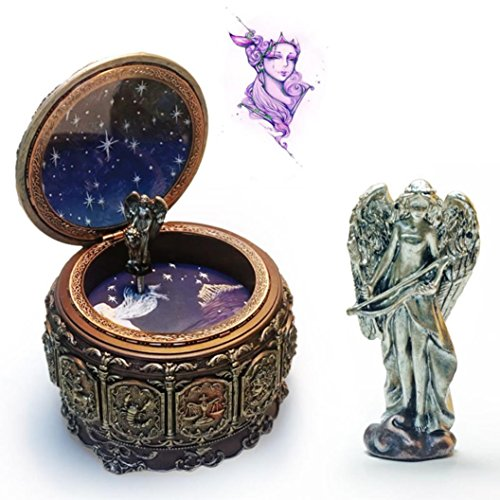 Christmas Gift - Coerni 12 Constellations Vintage Music Box Plays ''Castle in the Sky'', with Japan Sankyo Movement (I-Sagittarius)