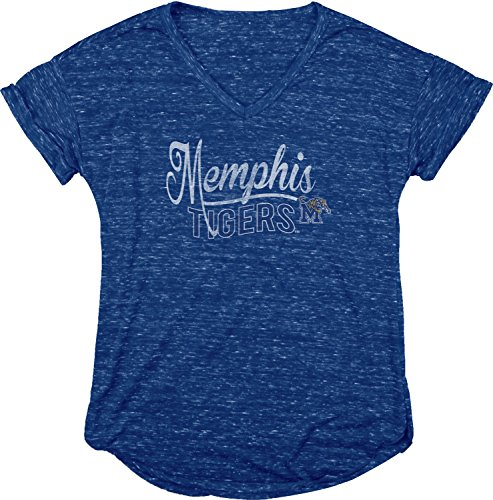Blue 84 NCAA Memphis Tigers Women's Dark Confetti V-Neck Tee, Royal, Large