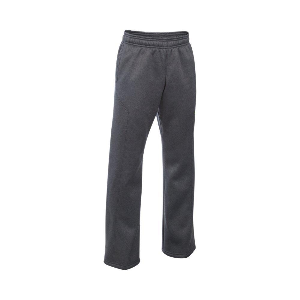 Under Armour Boys' Storm Armour Fleece Big Logo Pants, Carbon Heather/Fuel Green, Youth X-Small