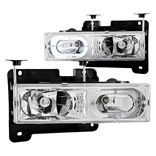 1992-1999 Gmc Yukon Euro Clear Headlights Halo Rim + 8 Led Fog Bumper Light - Gmc Headlights Euro