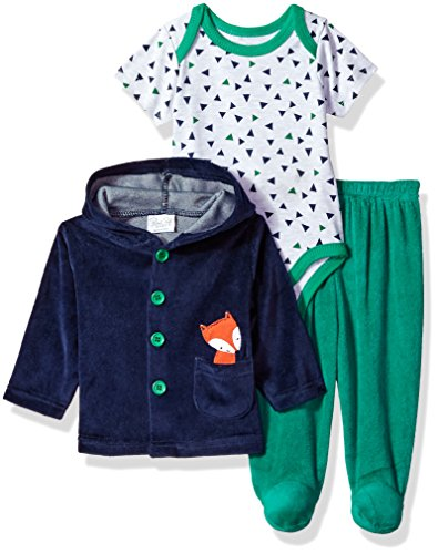 (Rene Rofe Baby Kids' Little Newborn 3 Piece Velour Jacket Bodysuit Set, Green/Fox, 3-6 Months)