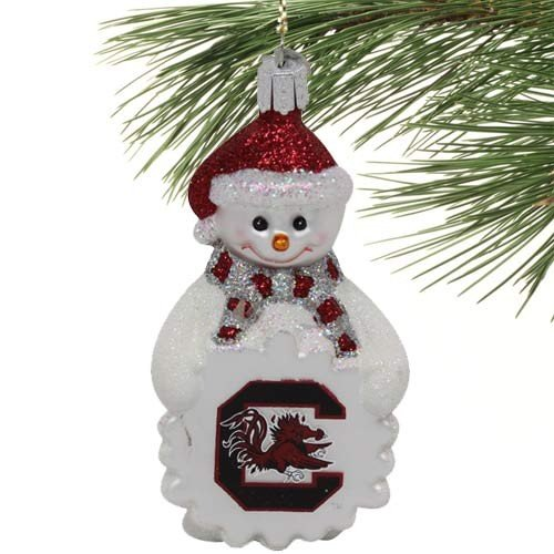 NCAA South Carolina Gamecocks Glass Snowman Ornament