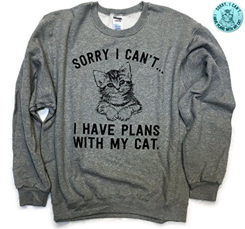 Sorry+I+Can%27t%E2%80%A6+I+Have+Plans+With+My+Cat+Funny+Cat+Sweater+%26+Sticker+Oxford+Grey+%28Large%29