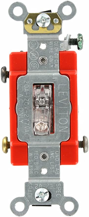 [ZTBE_9966]  Leviton 1221-7PC 20-Amp, 277 Volt, Toggle Pilot Light, Neutral Single-Pole  AC Quiet Switch, Extra Heavy Duty Grade, Self Grounding, Clear - Wall Light  Switches - Amazon.com | Light Switch Wiring Ac |  | Amazon.com