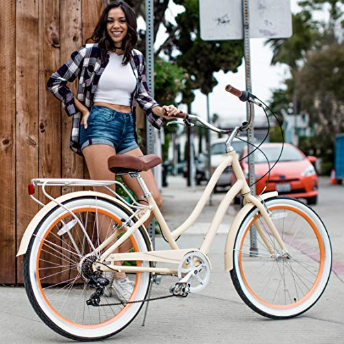 "sixthreezero EVRYjourney Women's 7-Speed Step-Through Hybrid Alloy Cruiser Bicycle, Cream w/Brown Seat/Grips, 26"" Wheels/ 17.5"