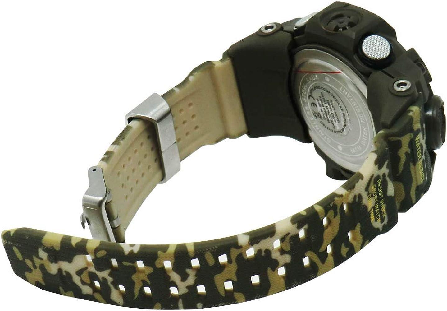 Joefox Reloj De Pulsera Digital para Hombre, Analógico Deportivo Militar, Cronógrafo Digital, Correa De Resina Led Resistente Al Agua 50 MT (Color: Oscuro Militar): Amazon.es: Relojes